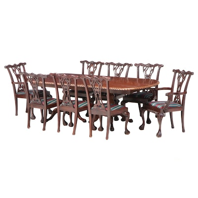 Handycraft Furniture Chippendale Style Mahogany Dining Table and Eight Chairs