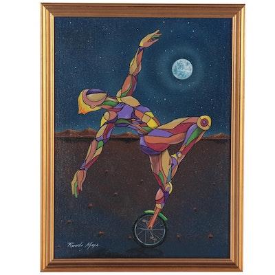 Ricardo Maya Surrealist Figural Acrylic Painting