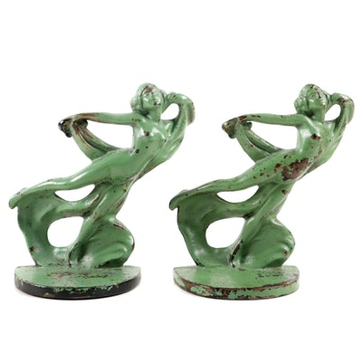 Hubley Cast Iron Dancing Nude with Scarf Bookends, Early to Mid 20th Century