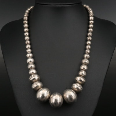 Sterling Silver Graduated Bench Bead Necklace