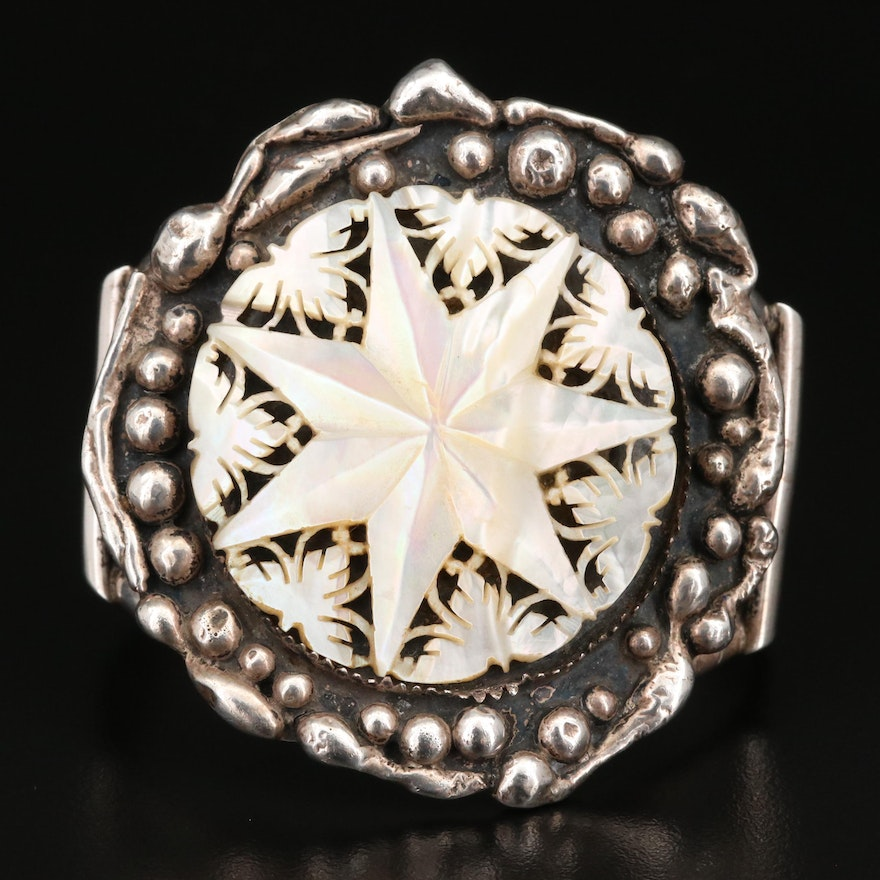 Signed Southwestern Sterling Carved Mother of Pearl Star Cuff