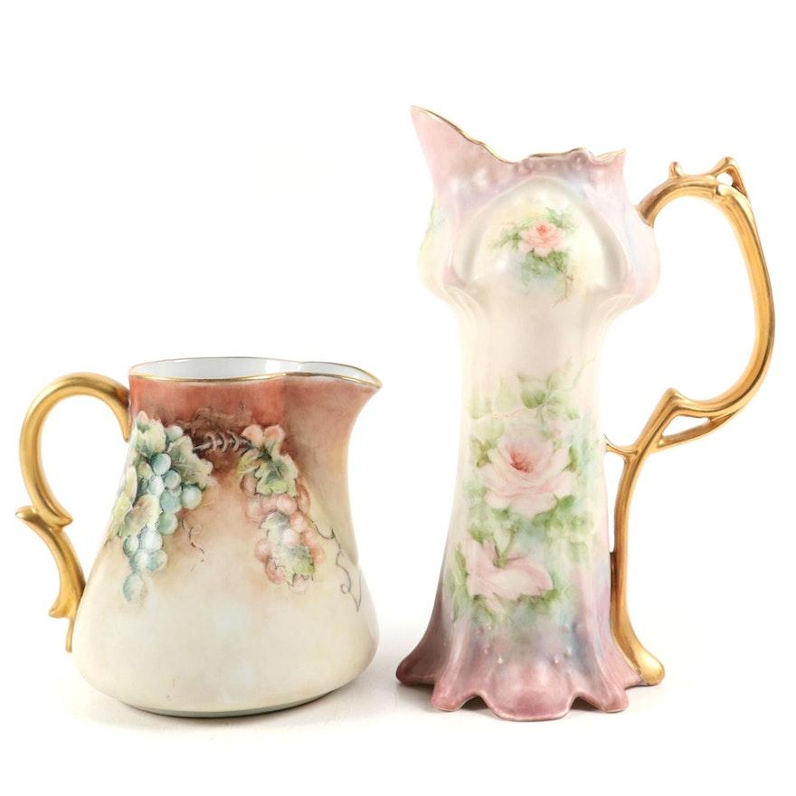Hobbyist Hand-Painted Floral and Grape Vine Motif Porcelain Pitchers
