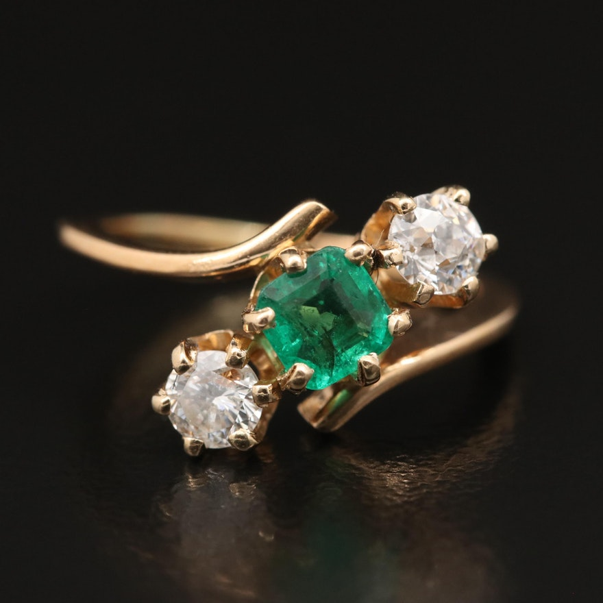 18K Emerald and Diamond Bypass Ring