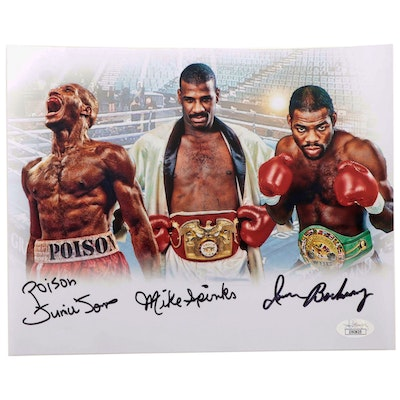 "Iron Barkley, Mike Spinks and ""Poison"" Junior Jones Signed Print  COA"