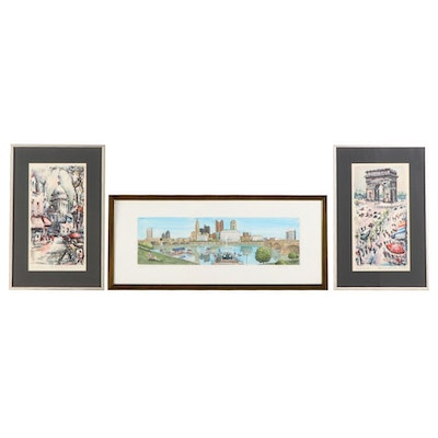 Martin Boyle Hand-Colored Etching with Offset Lithographs after Marius Girard