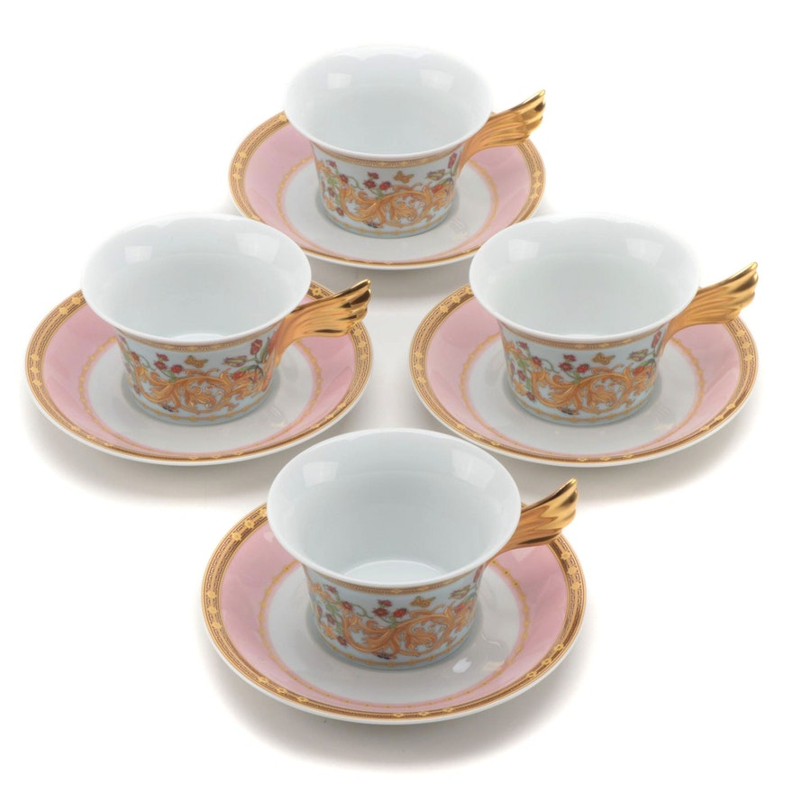 """Four Boxed Rosenthal for Versace """"Le Jardin de Versace"""" Teacups and Saucers"""