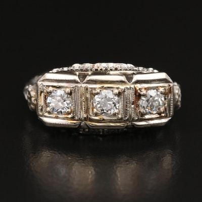 Edwardian 14K Three Stone Diamond Ring