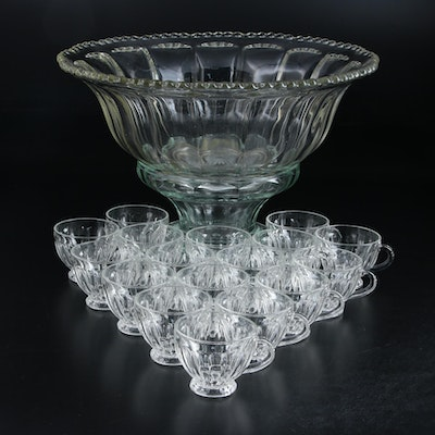 Heisey Pressed Glass Colonial Scallop Punch Bowl with Assembled Base and Cups