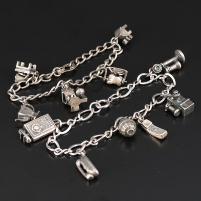 Vintage Sterling Charm Bracelets with Barber Chair and Phone Themed Charms