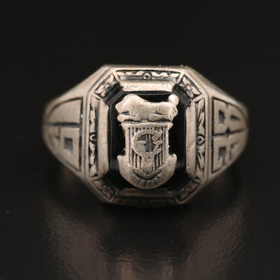 Vintage Josten Sterling Silver Black Onyx 1938 Class Ring