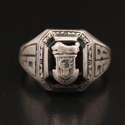 Vintage Josten Sterling Silver Black Onyx 1938 Class Ring
