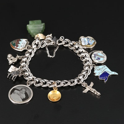 Sterling Charm Bracelet with Nephrite Temple and 10K Gold Pan Charms