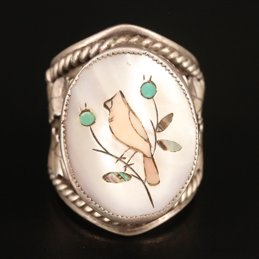 Sterling Bird Ring Featuring Mother of Pearl, Abalone and Turquoise Inlay