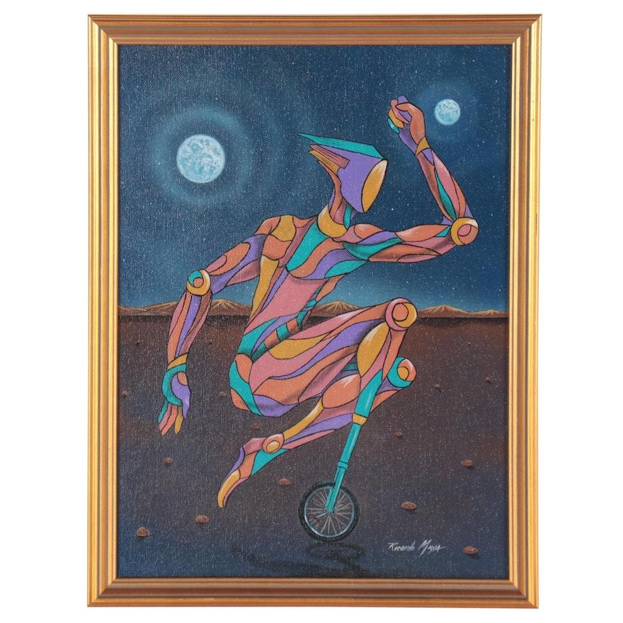 Ricardo Maya Abstract Figural Acrylic Painting, 21st Century