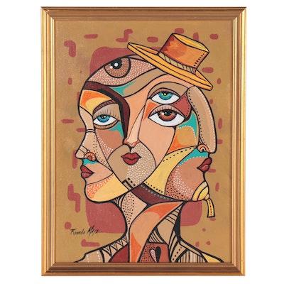 Ricardo Maya Cubist Style Portrait Acrylic Painting