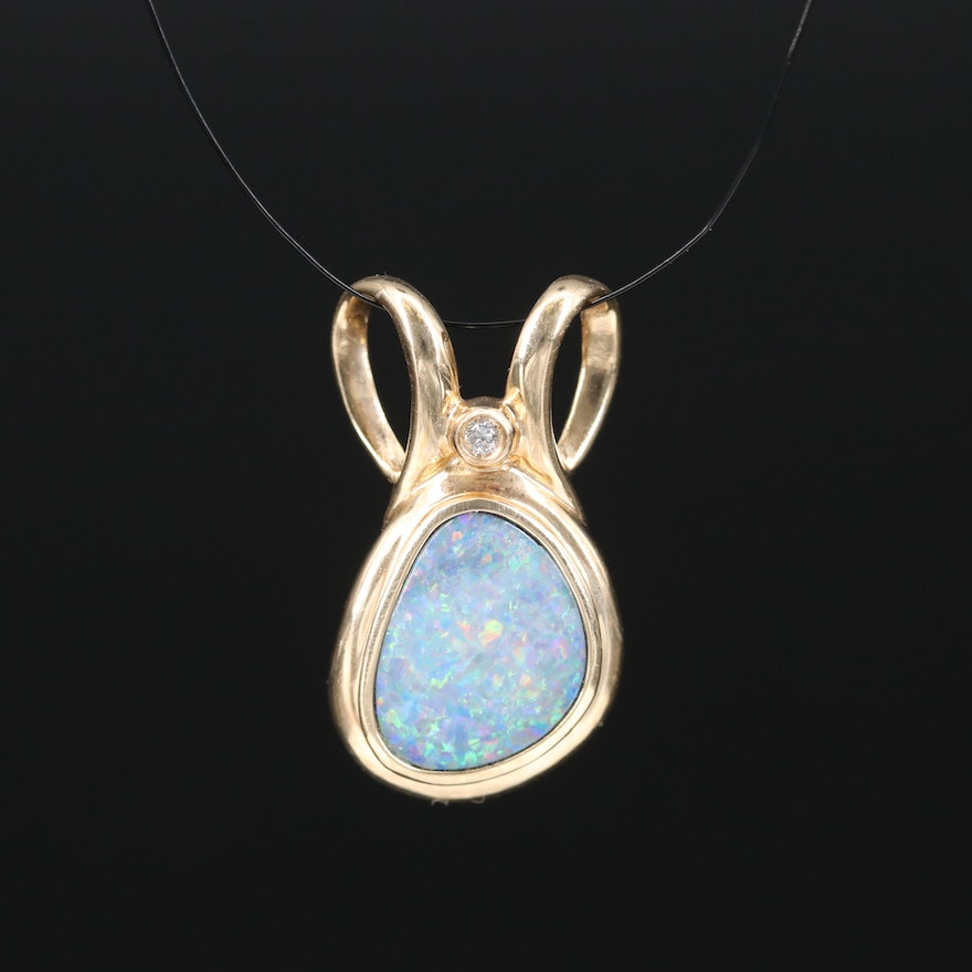 14K Boulder Opal and Diamond Slide Pendant