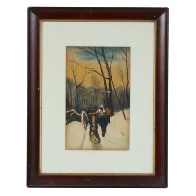 Collotype of Horses with Log Cart in Winter Landscape, Early-Mid-20th Century