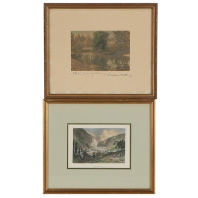"Wallace Nutting Hand-Colored Photogravure and Etching ""Harper's Ferry"""