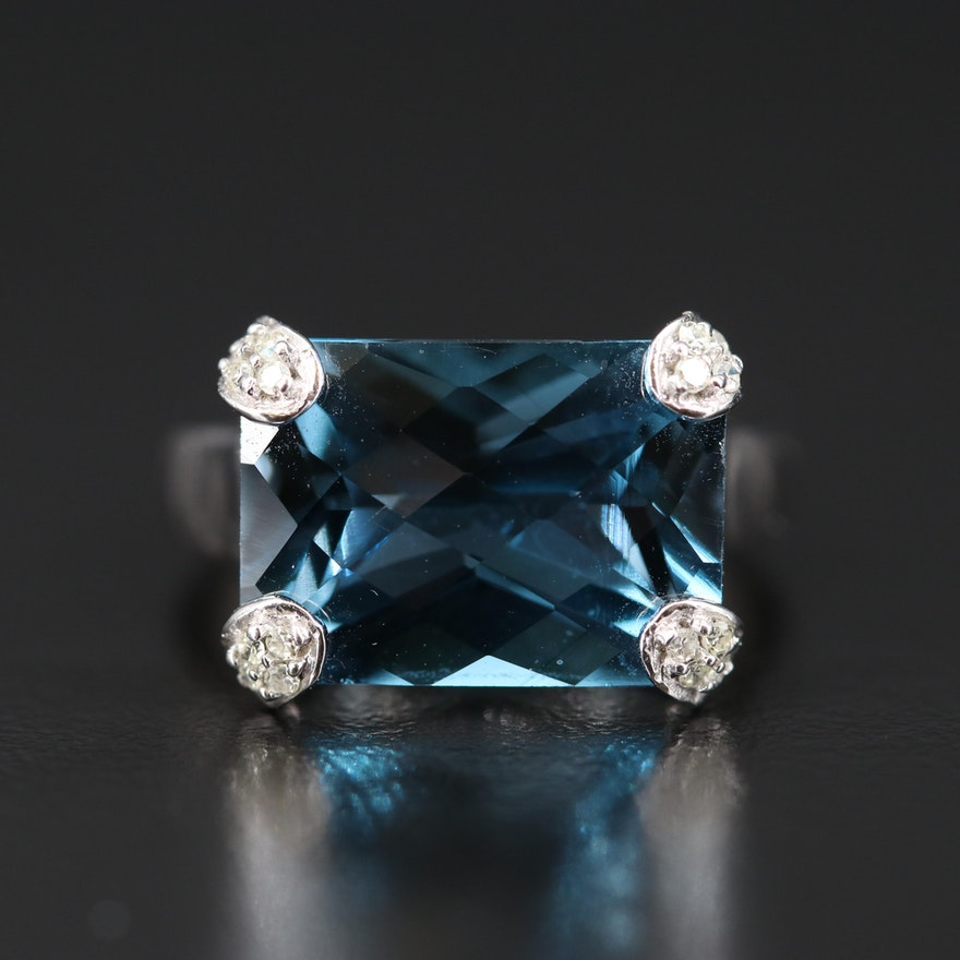 10K 11.42 CT London Blue Topaz Ring with Diamond Set Prongs