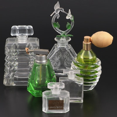 Blown Glass Hummingbird Stoppered Perfume Flask, and Other Perfume Bottles