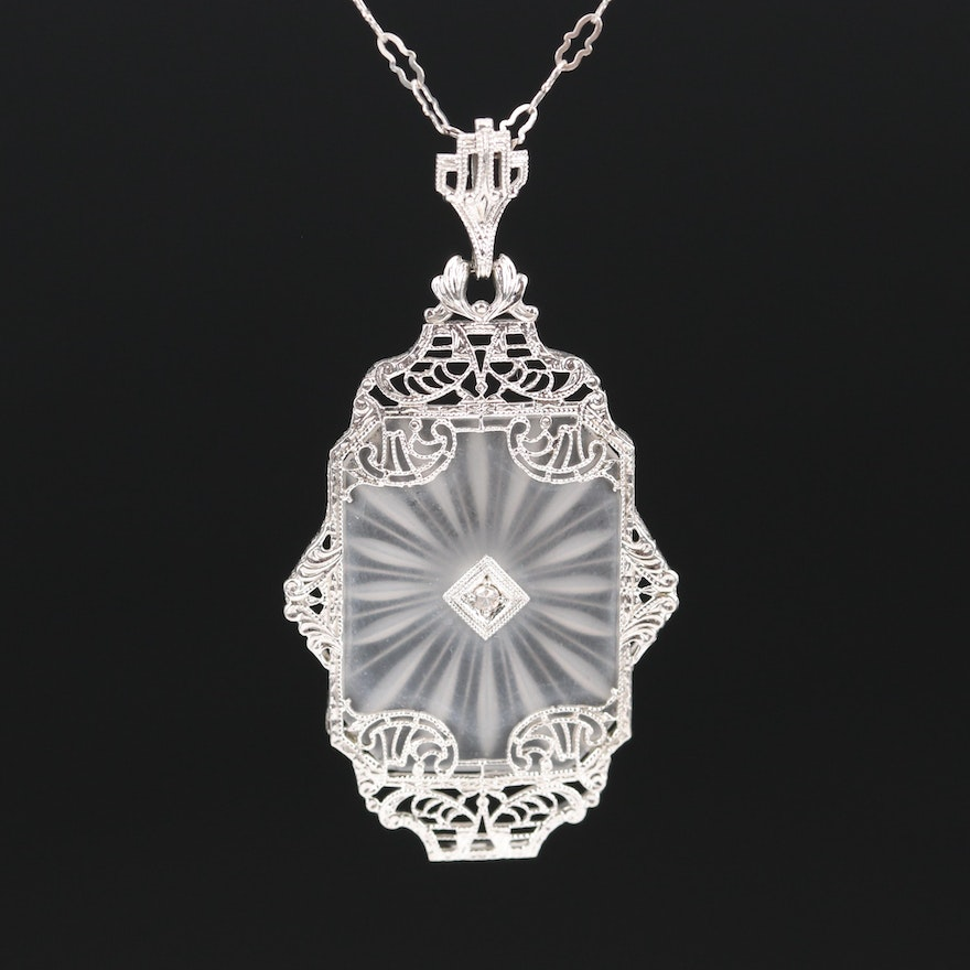 Art Deco 14K Diamond and Rock Crystal Quartz Necklace