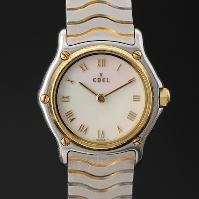 "18K and Stainless Steel Ebel ""Classic Wave"" Wristwatch"