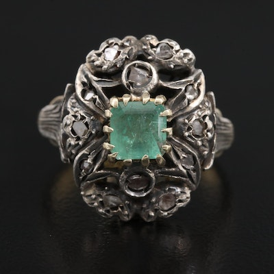 Vintage Style Sterling Silver Emerald and Diamond Foliate Top on 18K Ring Shank