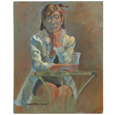 "Raymond Zaplatar Portrait Acrylic Painting ""Flip,"" 2015"