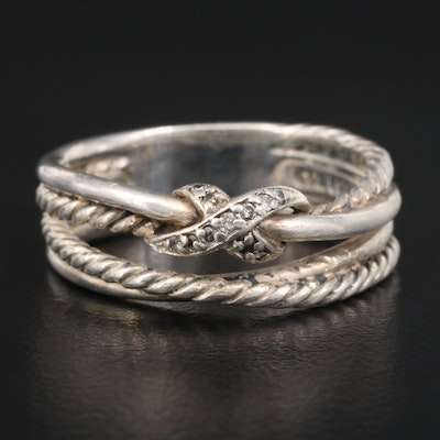 "David Yurman ""Cross Over"" Sterling Silver Diamond Ring"