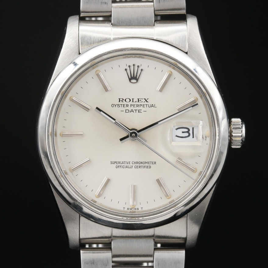 1982 Rolex Oyster Perpetual Date Stainless Steel Wristwatch