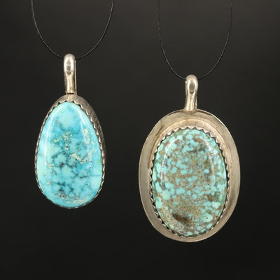 Robert Nofchissey Navajo Diné Sterling Turquoise Pendants