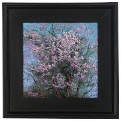 "James Baldoumas Oil Painting ""Flowering Cherry,"" 2021"