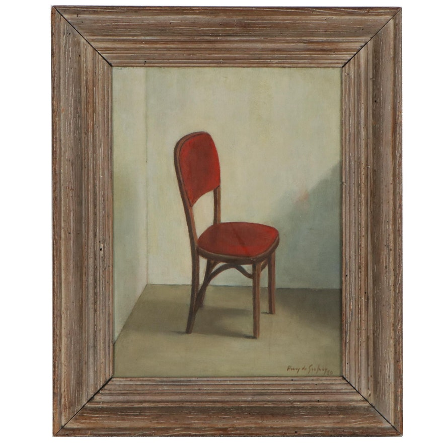 Henry de Geofroy Oil Painting Interior Scene with Chair, 1950