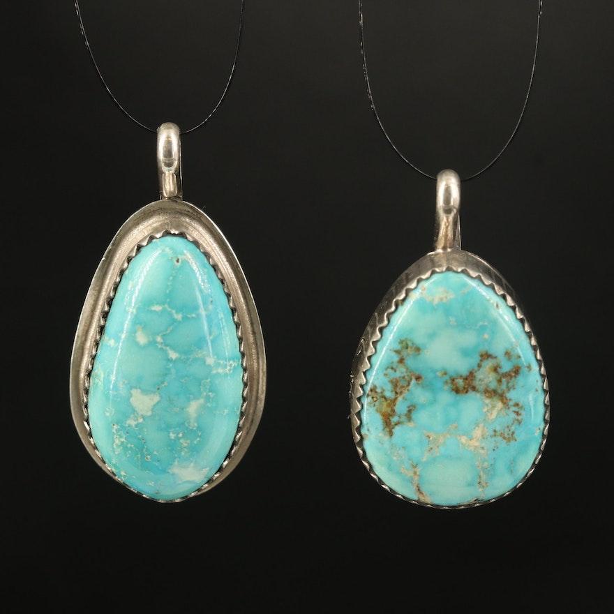 Robert Nofchissey Navajo Diné Sterling Turquoise Pendants