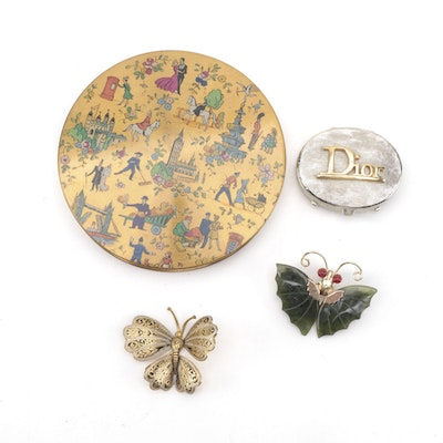 Christian Dior Solid Perfume Case and Le Rage Compact, with Butterfly Brooches