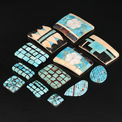 Loose Gemstone Selection Featuring Turquoise, Mother of Pearl and Bone