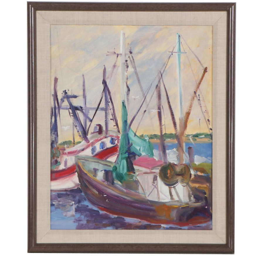 Nautical Oil Painting of Boats at the Harbor, Late 20th Century