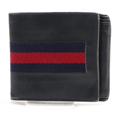 Gucci Web Stripe Bifold Wallet in Navy Blue Leather