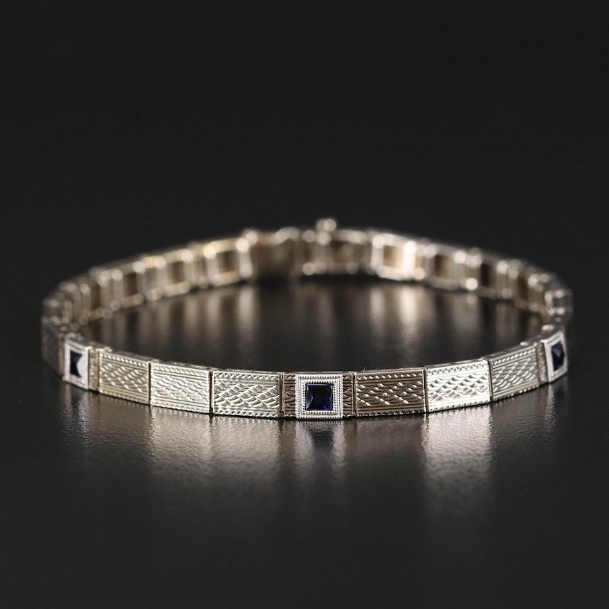 Late Art Deco 14K Sapphire Bracelet