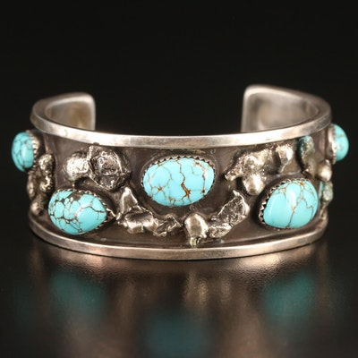 Signed Southwestern Turquoise Cuff with Nugget Design
