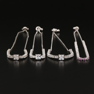 Sterling Bolo Bracelets Featuring Sapphire and Cubic Zirconia Accents