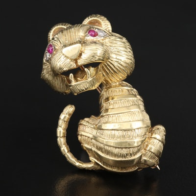 Vintage 18K Ruby and Diamond Tiger Brooch with 14K Findings