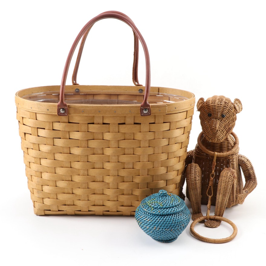 Longaberger Basket with Leather Handles and Liner, and Other Baskets