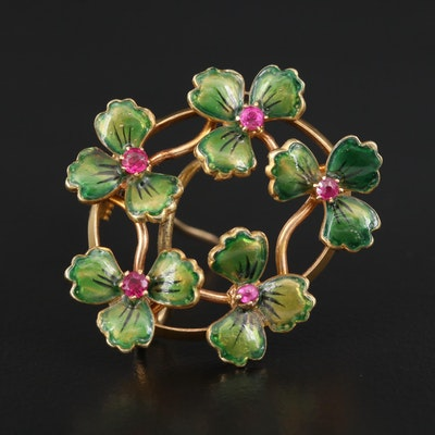 Circa 1900 14K Ruby and Enamel Clover Brooch with Watch Hook