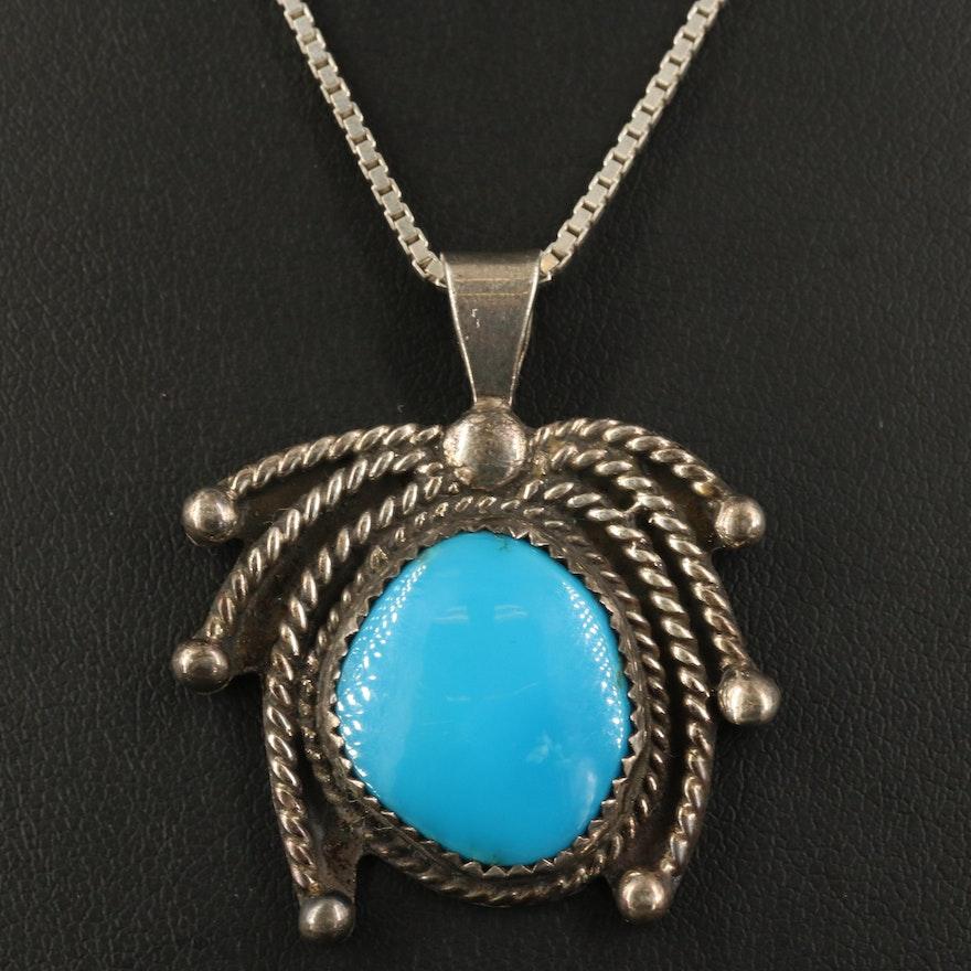 George Oliver Bennett Navajo Diné Sterling Turquoise Necklace