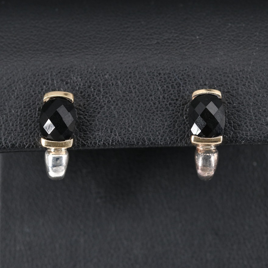 970 Silver Black Onyx J-Hoop Earrings with 18K Accents