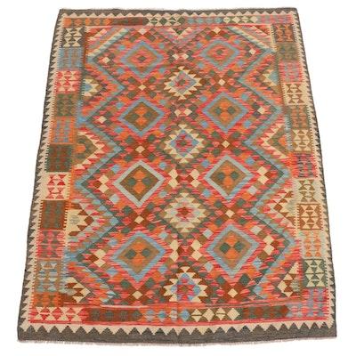 5' x 6'6 Handwoven Afghan Kilim Area Rug