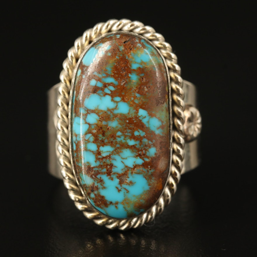Robert Nofchissey Navajo Diné Sterling Turquoise Ring with Rope Edge