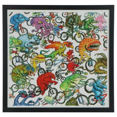 Giclée after Philip Newsom Children's Illustration of Cycling Monsters