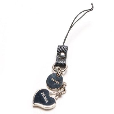 Prada Black Enameled Heart Cellphone Charm